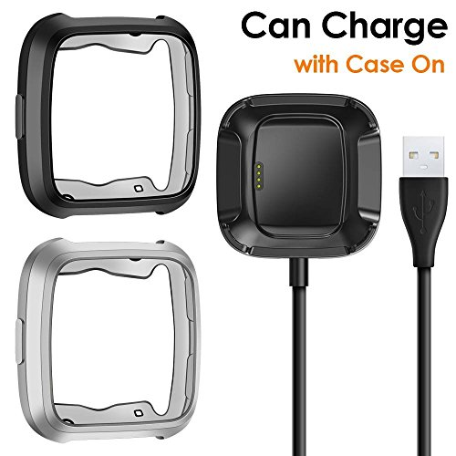 CAVN Compatible Fitbit Versa Case Charger [2 +1 Pack], TPU Bumper Protective Cover Protector + 3.3 FT Replacement Charging Cable (Can Charge Case On) Compatible Fitbit Versa Smartwatch