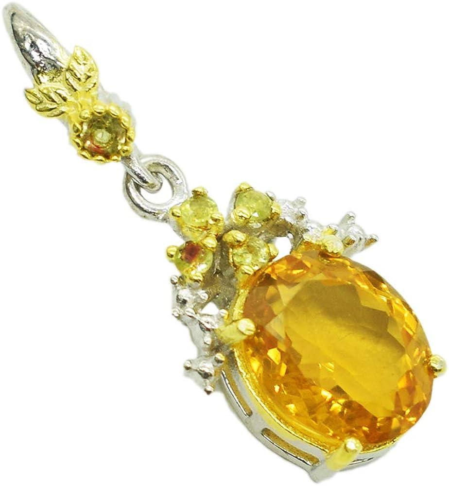 Colgante de plata de ley con piedras preciosas de citrino y peridoto, joyería hecha a mano, rodio negro, chapado en oro amarillo, colgante para niñas SG-106