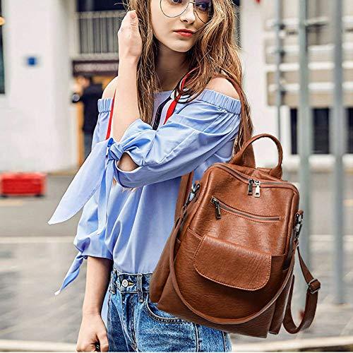 Brown Donna Casual A Staccabile Daypack Ragazza Zaini Per Multiuso Tracolla Borse Cuoio nbsp;con Zaino Pu brown wUw1TgZq