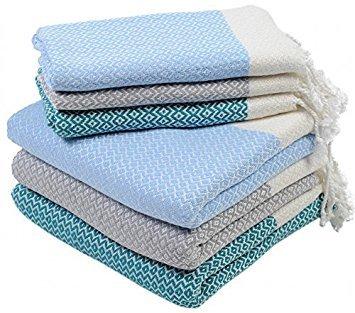 Set of 6 Turkish Cotton Bath Beach Spa Sauna Hammam Yoga Gym Hamam Hand Towel Fouta Peshtemal Pestemal Blanket Set- 6 Multicolor2