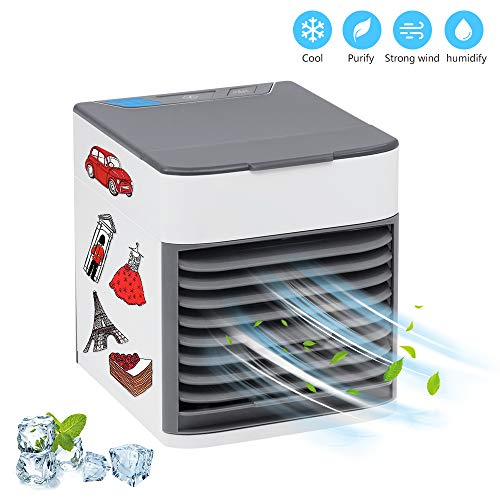 Sunbond Portable Air Conditioner USB Air Cooler Humidifier Purifier Mini Cooling Fan Personal Desktop Fan 3 Speeds Quiet for Offices Indoors Outdoor