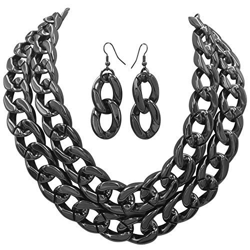 Gypsy Jewels Layered Chain Statement Silver Tone Boutique Necklace & Earrings Set (2 Row Gun Metal)