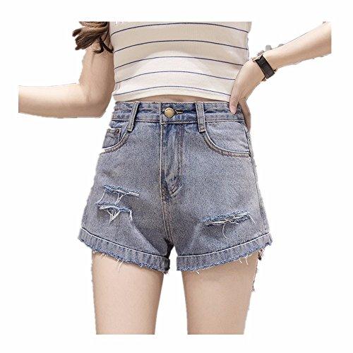 y ancha primavera salvajes otoño era azul delgada cintura pantalones vaquero verano claro vaqueros primavera pierna pantalones de Agujero mujer pantalones alta de shorts y C1TUnRH