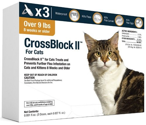 CrossBlock II Flea Preventative for Cats Over 9Lb. (3-Pack) by WIM