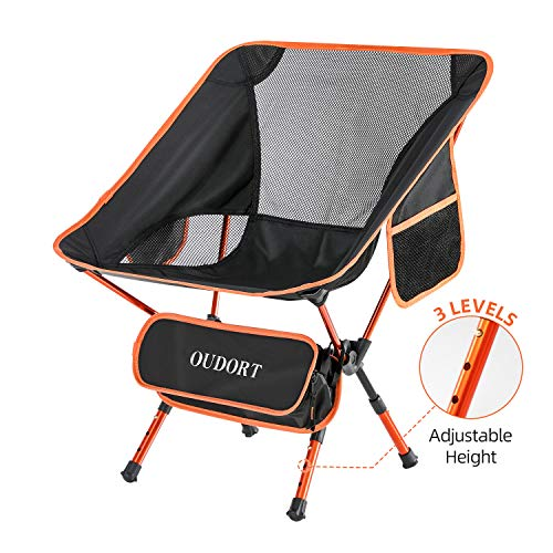 🥇 Oudort Silla Plegable Camping Ligera Aluminio de Ajuste de Altura con Bolsa Portátil Waterproof