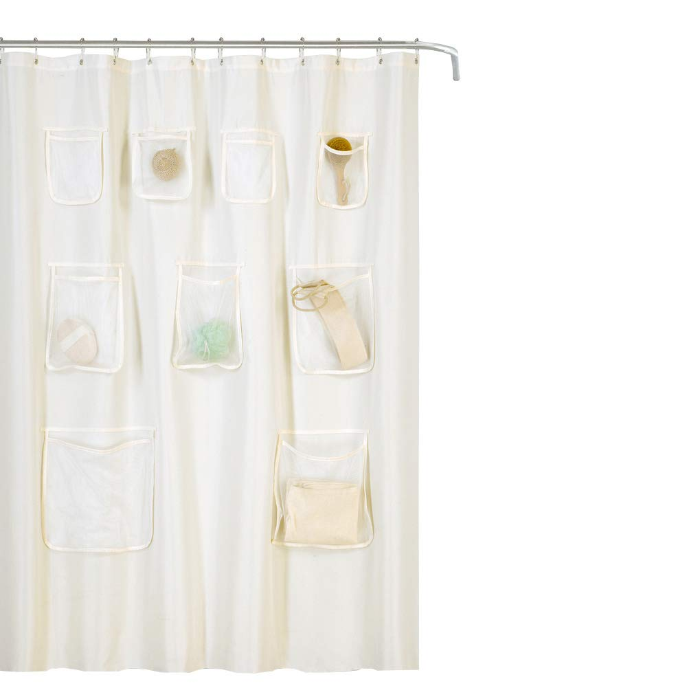 Details About GoodGram Water Resistant Fabric Shower Curtain Liner With Pockets