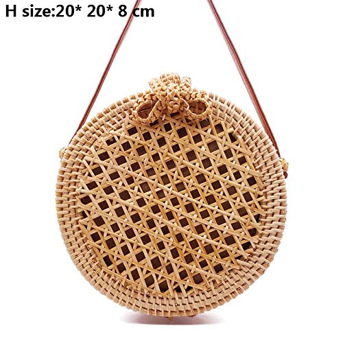 YUANLIFANG Crossbody Round Handmade Straw Bags Women Summer Rattan Bag Woven Beach Cross Body Shoulder Bag Circle Handbag
