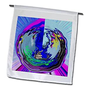 Jos Fauxtographee Designs - Polar Coordinates in a wobbly swirl of pink, blue and yellow - 18 x 27 inch Garden Flag (fl_64313_2)