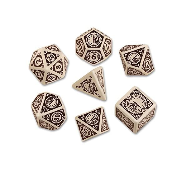 Beige-Brown Steampunk Clockwork Dice Set by Q-Workshop 3