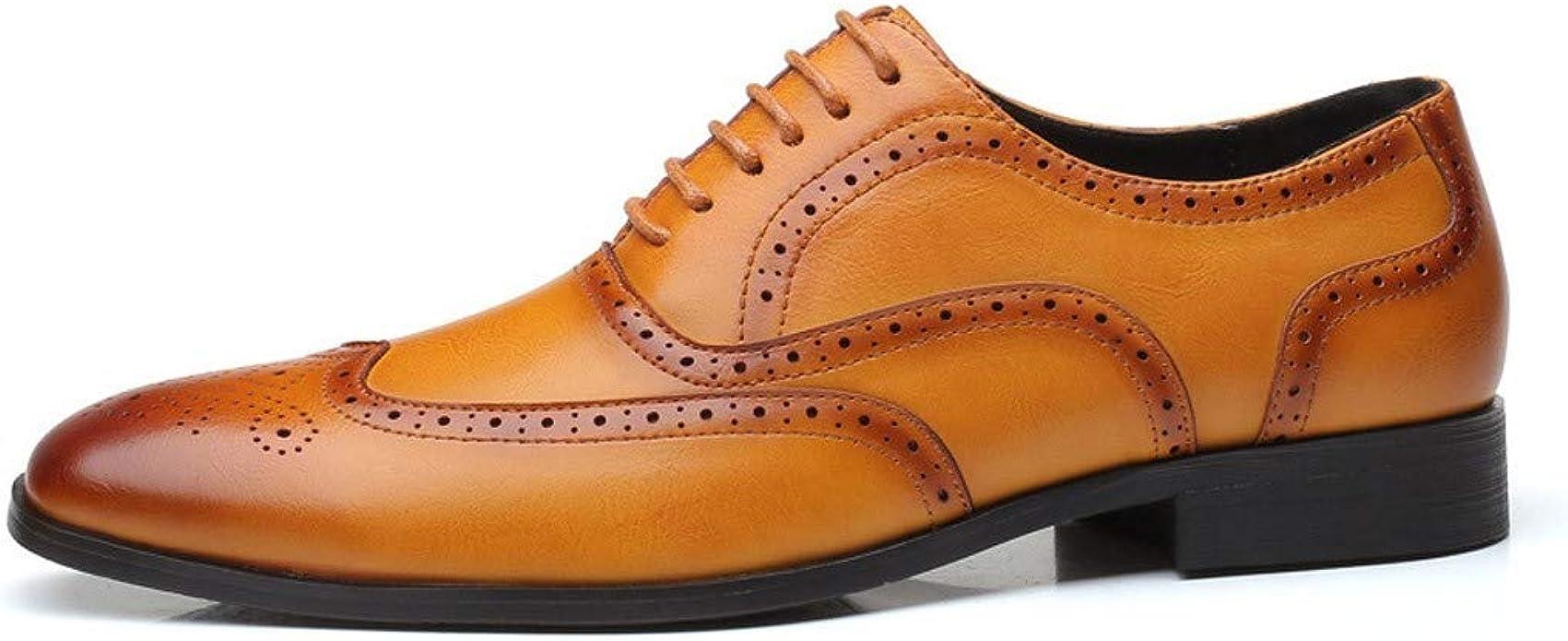 Moonuy Hommes Chaussures Habill/ées Mode Homme Britannique Chaussures en Cuir Hommes Pointu Toe Chaussures D/écontract/ées Hommes Vintage Lacet Solide Chaussures Hommes Costume Chaussures /Ét/é