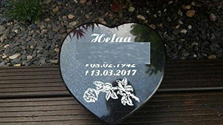 Grabstein Grabschmuck Grabplatte Herz Gravur Granit Trauerherz