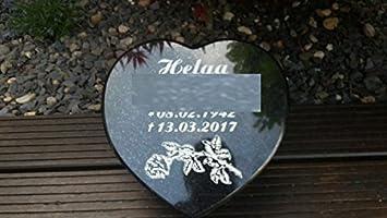 Granito Corazón Lápida liegestein Corazón Negro 30 cm x 30 cm x 6 cm Incluye grabado
