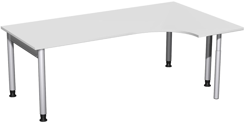 Geramöbel PC-Schreibtisch rechts höhenverstellbar, 2000x1200x680-820, Lichtgrau/Silber