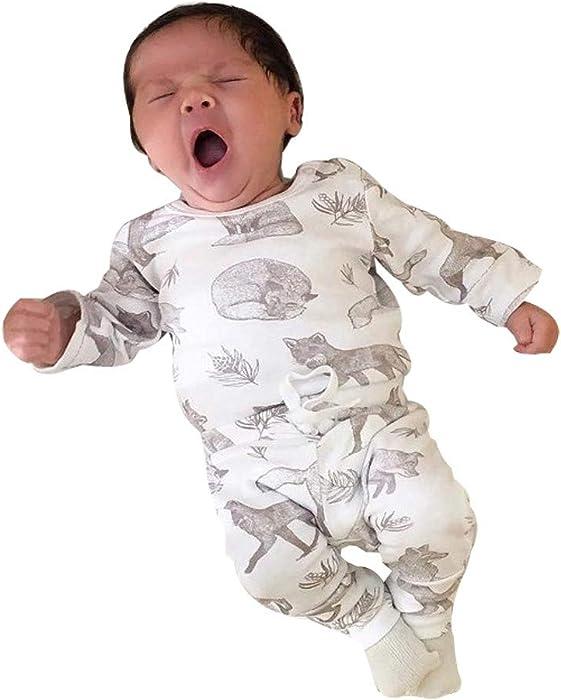 1c613b8e4 Amazon.com  Infant Baby Boy Girl Long Sleeve Romper Cartoon Jumpsuit ...