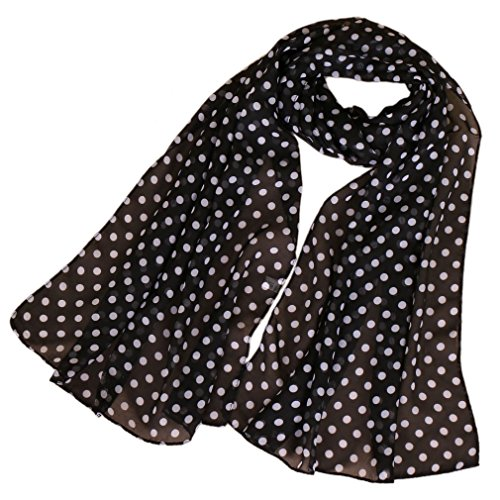 White Silk Long Scarf - LMVERNA women's polka dot scarves printing chiffon silk scarf lightweight summer long scarfs wrap black (Black+White)