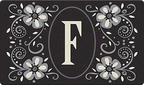 Initial Pattern - Toland Home Garden Classic Monogram F 18 x 30 Inch Decorative Floor Mat Flower Design Pattern Doormat