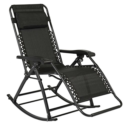 Patio Folding Rocking Chair Gravity Lounge Porch Foldable Seat Outdoor UV-resistant Black New #284 (Tampa Upholstery)