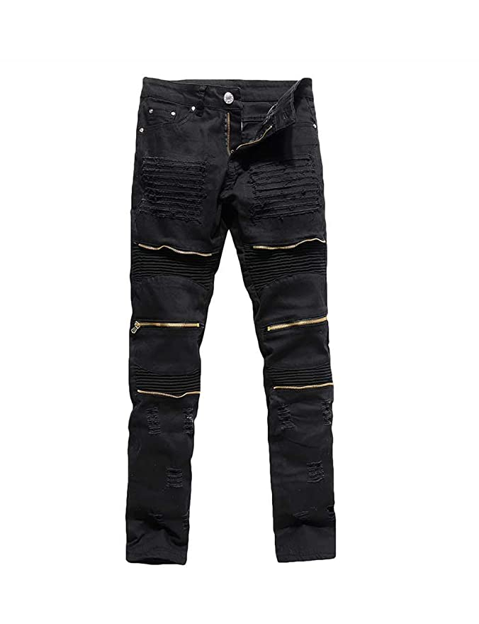 Men's Steampunk Pants & Trousers Rexcyril Mens Moto Biker Jeans Distressed Ripped Skinny Slim Fit Denim Pants with Zippers $26.99 AT vintagedancer.com