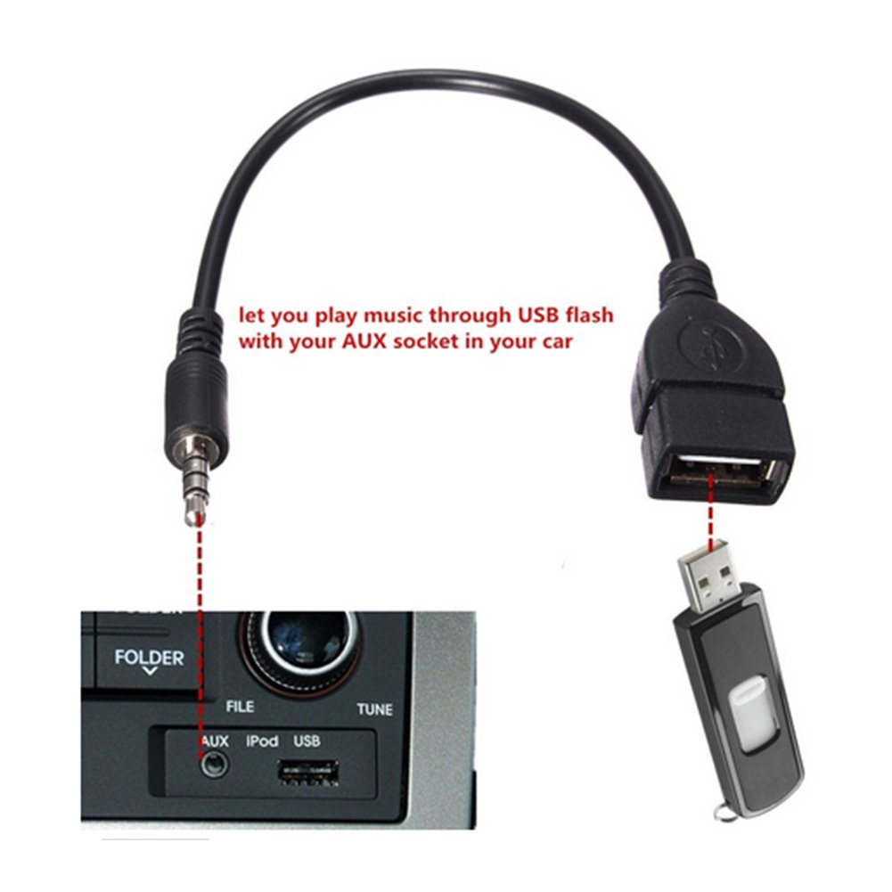 Sedeta 3.5mm Male AUX Audio plug To USB Type A Female Car Converter Adapter Cable Cord Lead connnector
