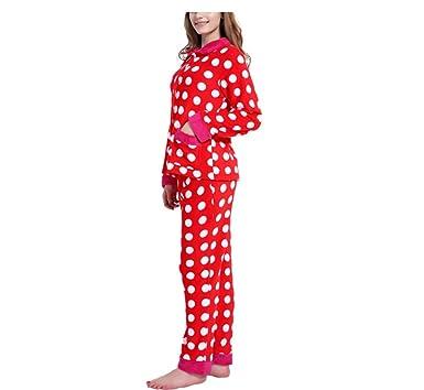 0e2f7fd282 Women s Light Weight Fleece Pajama Set Two-Piece Suit Plush Pajamas(red ...