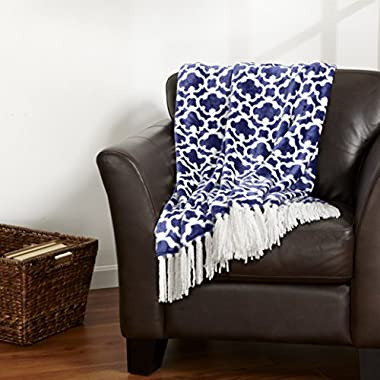 Keller Collection Ultra Velvet Plush Super Soft Blanket. Lightweight Throw Blanket in Beautiful Printed Patterns Featuring a Decorative Fringe. By Home Fashion Designs. (Navy)