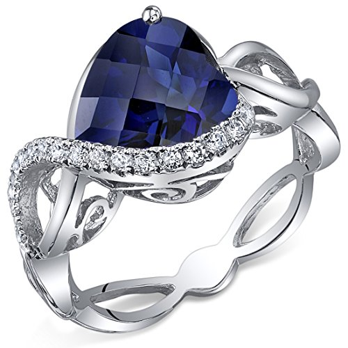 4.00 Carats Created Sapphire Ring Sterling Silver Heart Shape Swirl Design Size 6 -