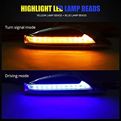 Blade Shape LED Side Marker Light Double Colors Driving Light Blue & Turn Signal Light Yellow/Amber Replacement Lights for BMW Buick motorcycle.2-Pack.Blue+Amber.: Automotive