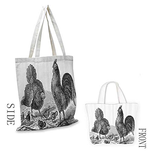 """Tote bag Gallos Decor Collection Hen Rooster and Chicks Classical La Vie Dans La Nature 1890 Antique Drawing Effect Coin cash wallet 16.5""""x14""""x6.3"""" Black and White"""