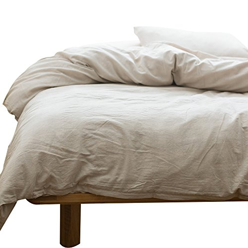 MKXI Solid Beige Elegant Comforter/Quilt Cover Cotton Bedroom Collection Duvet Cover Set Queen Size
