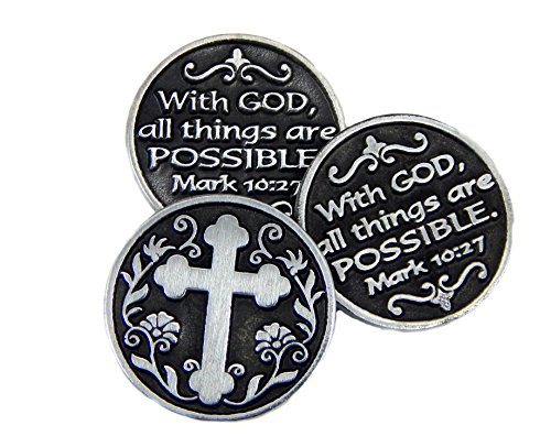 With God All things Are Possible Pocket Token - 3 Coins Catholic Coins