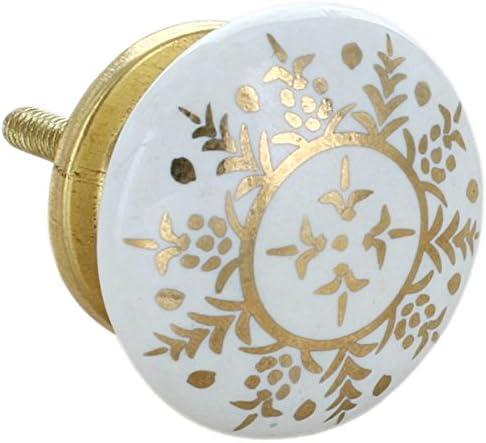G Decor - Lot de 8 boutons de porte en céramique - pour porte, tiroir et armoire - Style vintage et rural chic - noir et doré