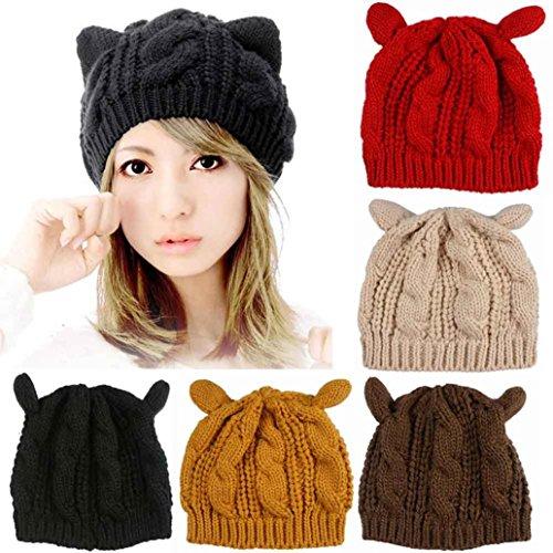 Perman-Womens-Cute-Cat-Ears-Hemp-Flowers-Knitted-Hat-Beanie-Cap