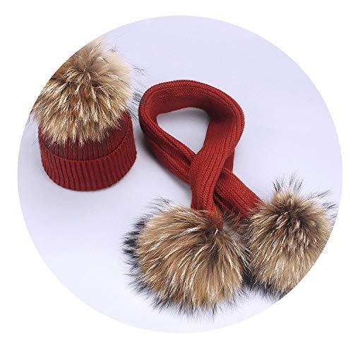 Children's Raccoon Fur Pom Poms Knit Beanie Hat Winter Scarf Cotton Warm Boy Girl Ski Baby Kids Thicken Bone,E