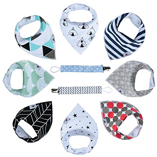 Baby Bandana Drool Bibs By HunnyBug | Organic Cotton, Handkerchief Style, Unisex Set- 8 Bibs+2 Pacifier Clips + Bonus Ebook
