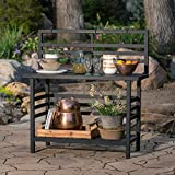 Black Finish Metal Modern Industrial Chic Outdoor Potting Bench Gardening Table Workstation with Storage Shelf 48L x 20W x 54H in.