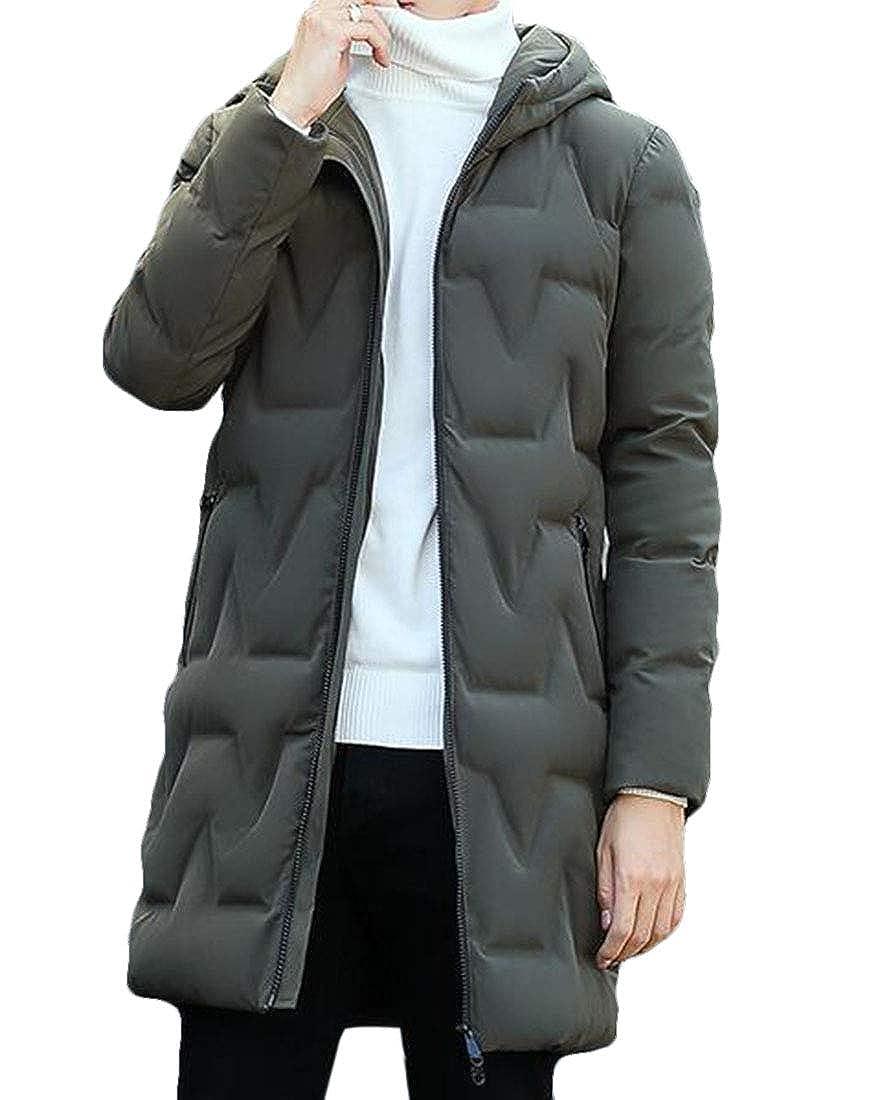Prsun Men Casual Thick Longline Winter Warm Waterproof Jacket Hooded Parka Jacket