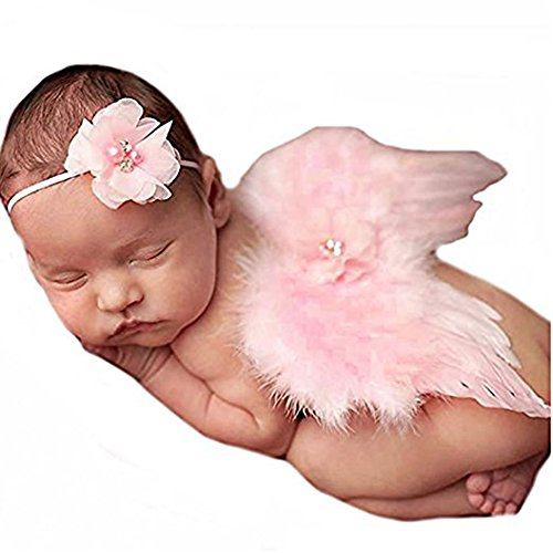 Rebecca online Newborn Baby Feather Angel Wings With Lotus Hairband, Photography Props With Flower Halo Set (Pink) (Angel Props Photography Wings)