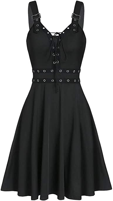 KLGDA Womens Gothic Sling Dress Punk Style Sleeveless Strapless Backless Irregular Skirts Mini Dress