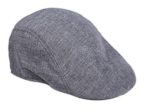 - Sepia Mens Womens Linen Plain Flat Newsboy Hat Cap (Grey),Medium