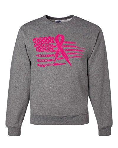 Pink Ribbon Flag Breast Cancer Awareness Sweatshirt Survivor Sweater Gray XL (Pink Ribbon Survivor Sweatshirt)