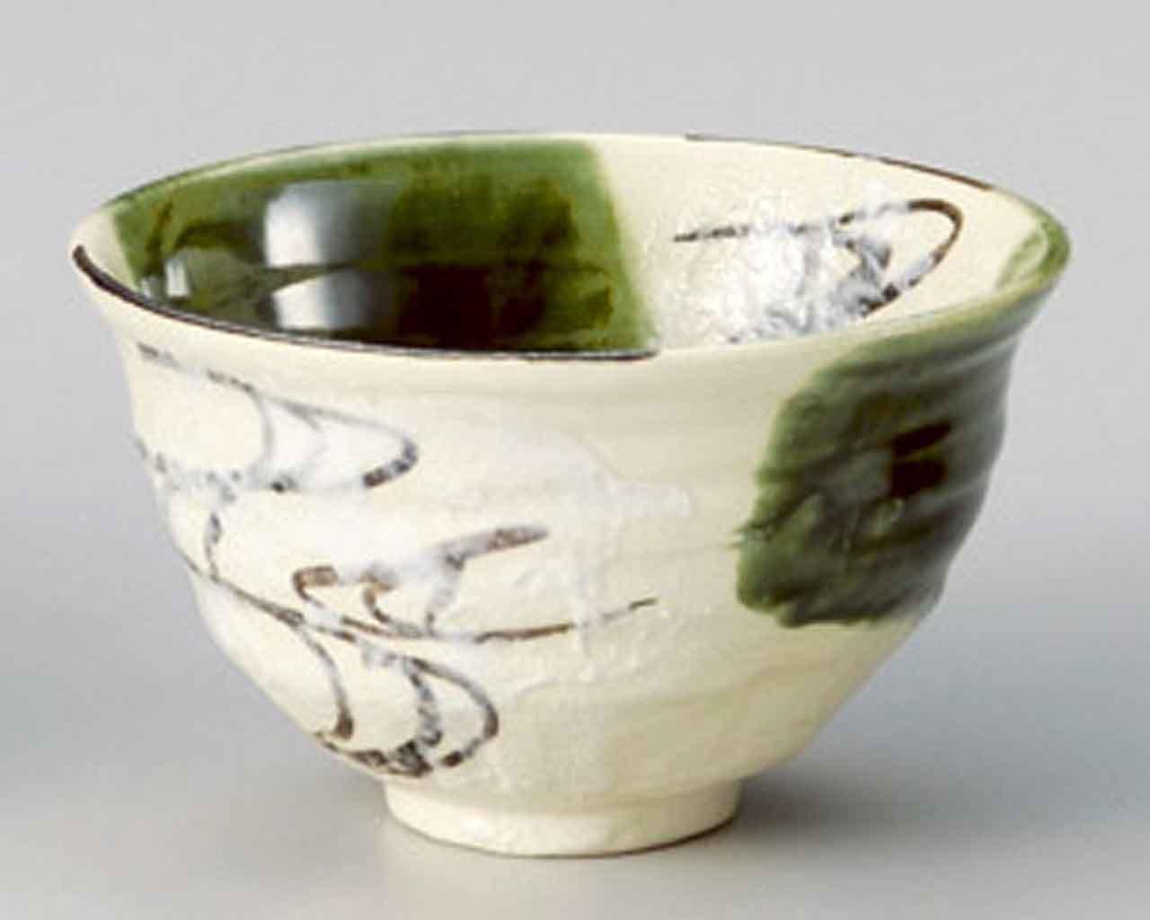 Oribe Ryusui 5.9inch Set of 5 Ramen-Bowls Beige Ceramic Made in Japan