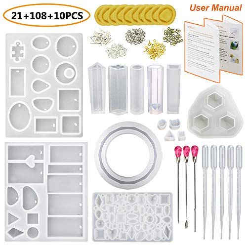 JOFAMY Resin Casting Molds with Manual, 13 Pcs Resin Jewelry Molds+100 Pcs Screw Eye Pins,4 Paris Earring Pins,3Pcs Metal Stirrers,5Pcs Plastic Droppers,10Pcs Finger Cots for Resin Jewelry Making (Metal Resin)