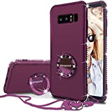 Samsung Note 8 Case, Glitter Violet Purple Protective Phone Case for Women Girls Ring Holder Thin Soft Girl Sparkly Luxury Bling Rhinestone Diamond Shockproof Galaxy Note 8 Case