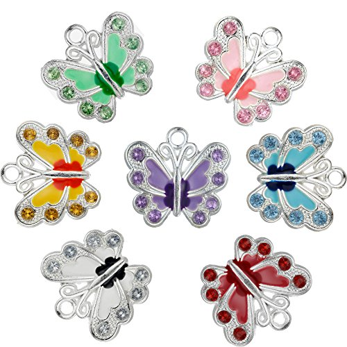 RUBYCA Silver Plated Small Butterfly Enamel Charm Beads Pendants for Jewelry Making DIY 28pcs ()