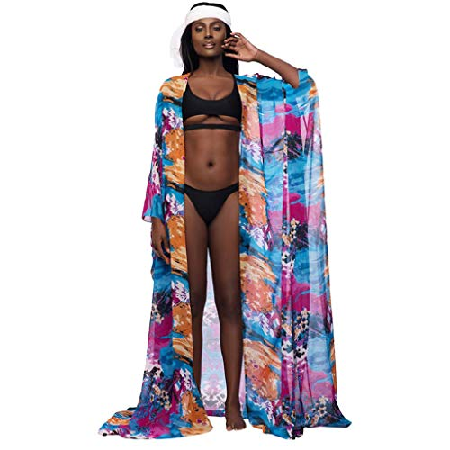 Chiccc Women's One Piece Swimsuits Tummy Control Swimwear Women Oversize Printed Vintage Beach Cape Chiffon Sunscreen Swimwear ()