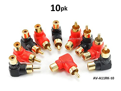 CablesOnline 10-PACK RCA Male Plug to RCA Female Right-Angle Gold-Plated Adapter , Red / Black (AV-A11RK-10)
