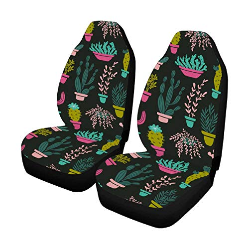 INTERESTPRINT Succulents and Cacti Plants Auto Seat Covers Full Set of 2, Vehicle Seat Protector Car Mat Covers, Fit Most Vehicle, Cars, Sedan, Truck, SUV, Van