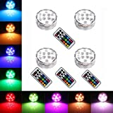 StillCool Submersible LED Lights Waterproof Light Wireless Remote Controlled Color Changing Underwater Light for Vase, Pond, Fish Tank, Garden, Wedding (4 pack)