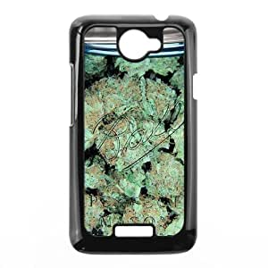 Clear Weed Mason Jar Pattern black plastic case For HTC One X at Run horse store