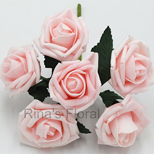Various Colors Wedding Centerpieces Flowers 72 Aritificial Foam Roses For Bridal Bridesmaids Bouquets Kissing Balls (Light Pink)